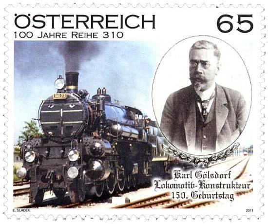 (2011) č. 2916 ** - Rakousko - 150. narozeniny Karl Gölsdorf; 100 let řady 310