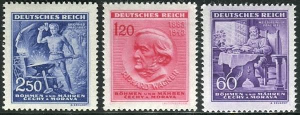 Protektorát Čechy a Morava (1943) č. 108-110 ** B.ü.M. - 130. výročí narození Richarda Wágnera