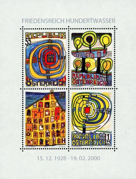 (2008) č. 2768-2771 ** - Rakousko - BLOCK 47 - 80. Geburtstag Friedensreich Hundertwasser