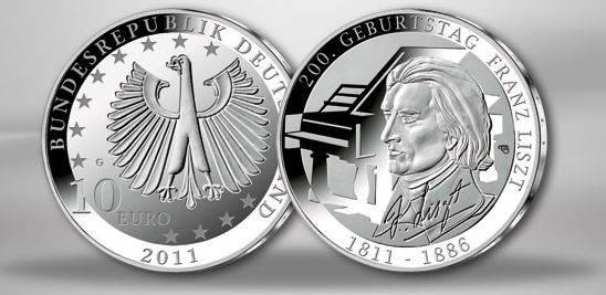 (2010) 10€ Ag - Německo - Franz Liszt