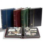 PREMIUM Einsteckbuch DINA A4, 64 schwarze Seiten, wattierter Ledereinband