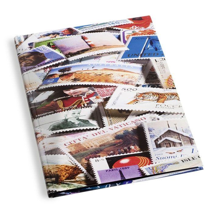"""Zásobník potisk """"Známky"""" - A4, 16 str., černé listy, průhledné pásky, nevat. desky"""