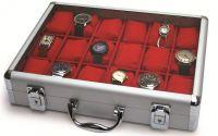 Hliníkový kufřík SAFE na hodinky či šperky - 18 polí