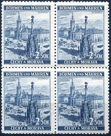 Protektorát Čechy a Morava (1939) č. 35 **- B.u.M. - 4-bl - Krajiny, hrady a města - Olomouc