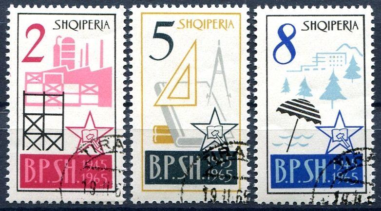 (1965) MiNr. 918 - 920 - O - Albánie - 20. výročí sjednocené Albánie