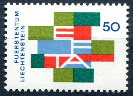 (1967) MiNr. 481 ** - Lichtenštejnsko - Zrušení celních bariér