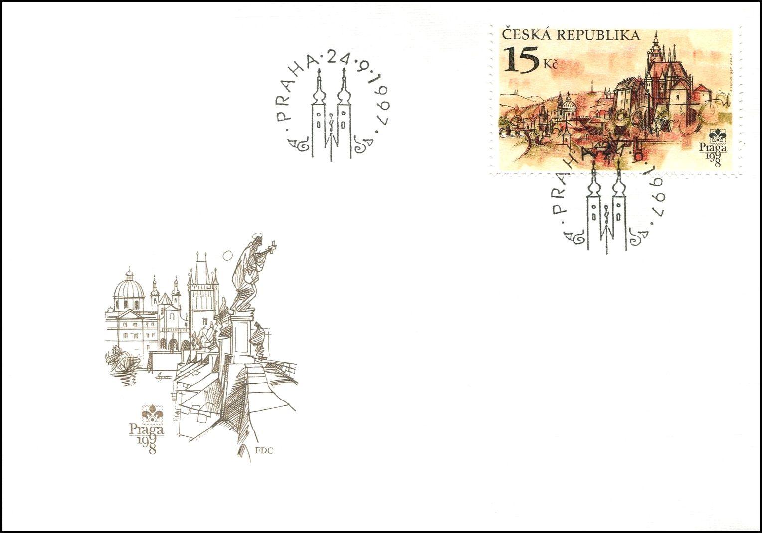 (1997) FDC 156 - 157 - Praga 1998 - Praha stověžatá (2)