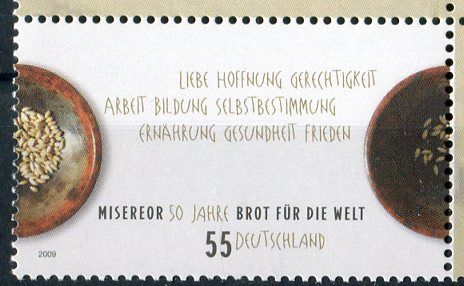 """(2009) MiNr. 2711 ** - Německo - 50 let církevní pomoci """"Misereor"""" a """"Bread for the World"""""""