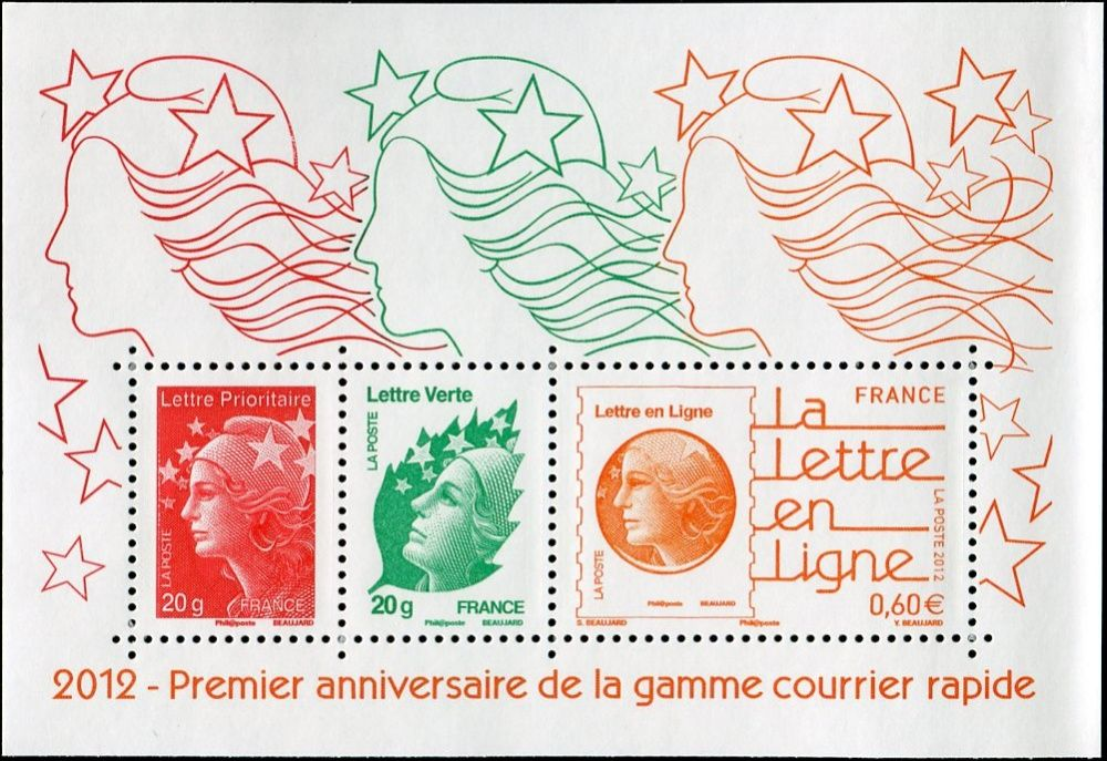 (2012) MiNr. 5430 ** - Francie - BLOCK 205 - 1 rok nového poštovního kurzu