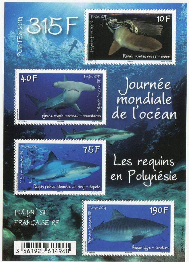(2014) MiNr. 1265-1268 ** - BLOCK 42 - Fr. Polynesie - Žraloci
