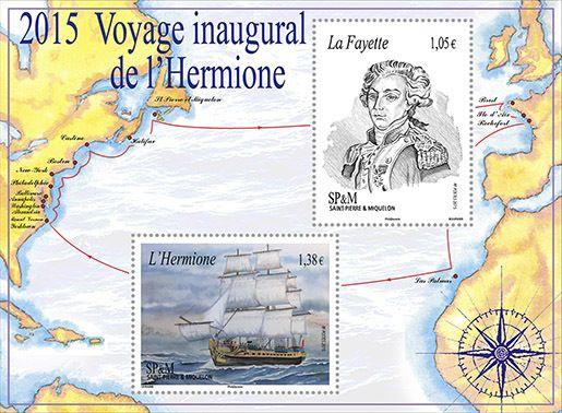 (2015) MiNr. 1230-1231 ** - BLOCK 24 - Saint Pierre a Miquelon - plavba lodě Hermione
