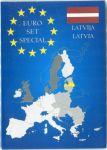 Karta na mince na 1 euro set - Lotyšsko