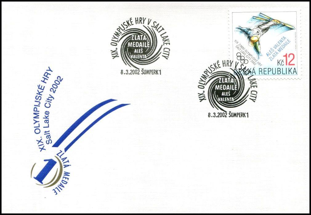 Česká pošta (2002) FDC 318 - Aleš Valenta zlatá medaile