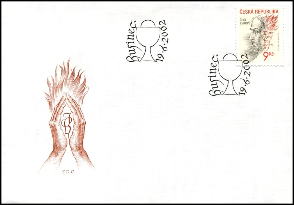 (2002) FDC 325 - Češi v Evropě - Mistr Jan Hus