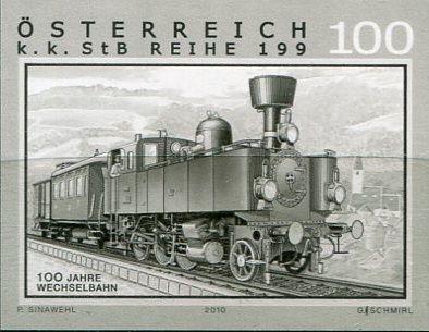 (2010) MiNr. 2893 - Rakousko - černotisk - Železnice (XIV): 100 let Wechselbahn