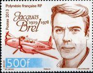 (2013) MiNr. 1228 ** - Fr. Polynesie - 35. výročí smrti - Jacques Brel