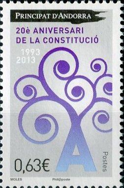 (2013) MiNr. 757 ** - Andora (Fr.) - 20 let Ústava