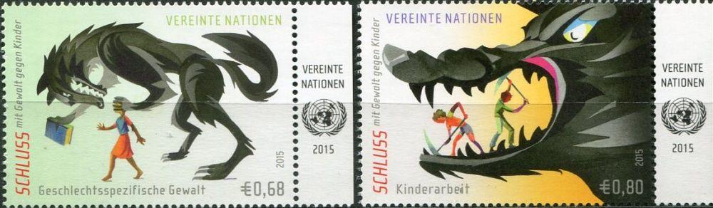 (2015) MiNr. 892 - 893 ** - OSN Vídeň - UNICEF kampaň proti násilí na dětech