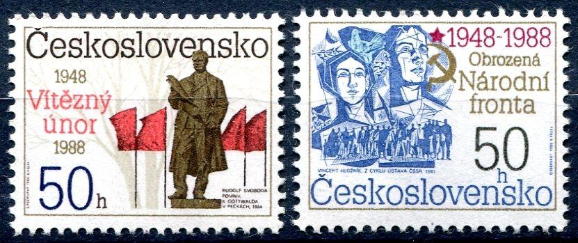 (1988) č. 2829 - 2830 ** - ČSSR - 40. výročí Února a Národní fronty