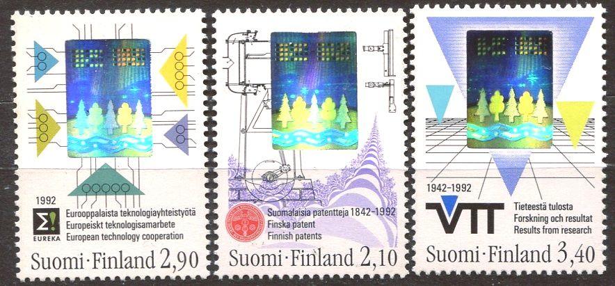 Posti Finland (1992) MiNr. 1175 - 1177 ** - Finsko - 150 let finské patentů; 50 let Národní rada pro patenty a registrací; 50 let Státní technické a výzkumné centrum (VTT)