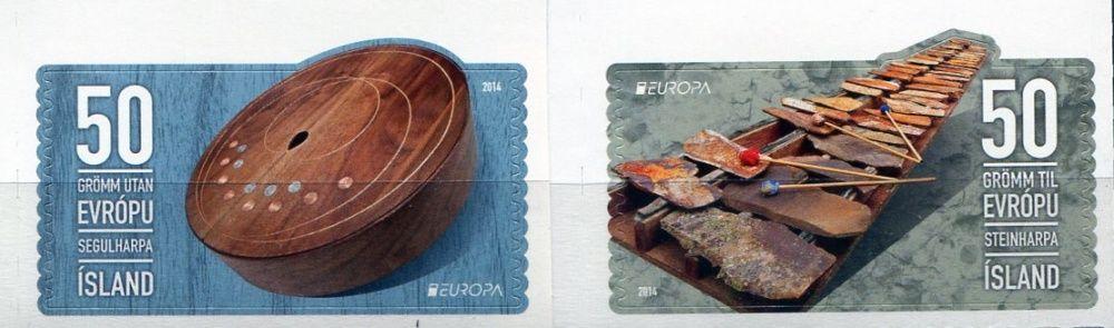 (2014) MiNr. 1424 - 1425 ** - Island - Europa: Nástroje lidové hudby