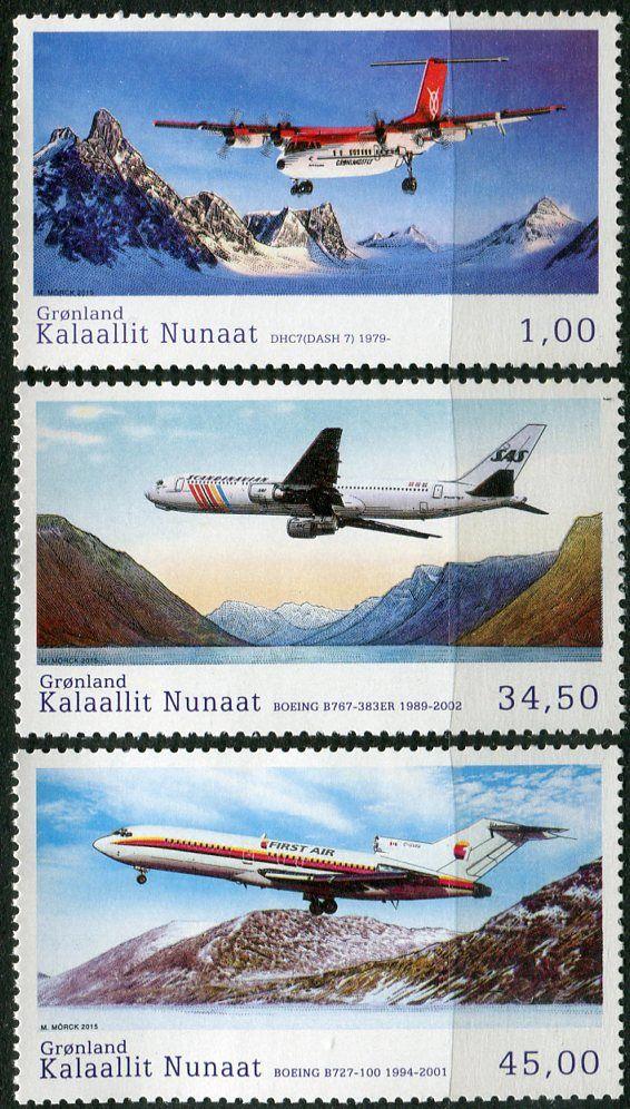 (2015) MiNr. 697 - 699 ** - Grónsko - Historie Grónska civilní letectví (V)