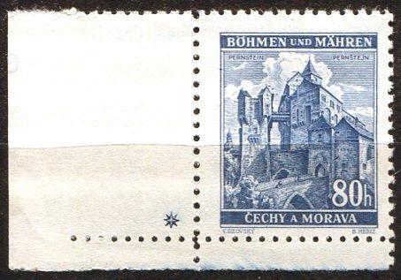 Protektorát Čechy a Morava (1940) č. 42 ** - B.u.M. - Krajiny, hrady, města - Pernštejn - d.z. +