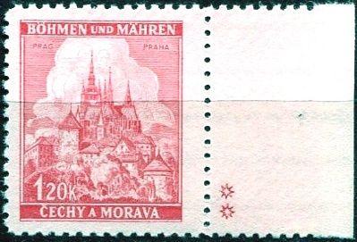 Protektorát Čechy a Morava (1941) č. 57a ** - B.u.M. - Krajiny, hrady, města - Praha - d.z. **