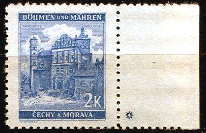 Protektorát Čechy a Morava (1941) č. 59 ** - B.u.M. - Krajiny, hrady, města - Pardubice - d.z. *