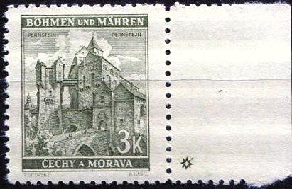 Protektorát Čechy a Morava (1941) č. 61 ** - B.u.M. - Krajiny, hrady, města - Pernštejn - d.z. *