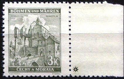 Protektorát Čechy a Morava (1941) č. 61 ** - B.u.M. - Krajiny, hrady, města - Pernštejn - d.z. +