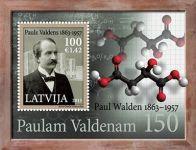(2013) MiNr. 863 ** - Lotyšsko - BLOCK 32 - 150. narozeniny Paul Walden