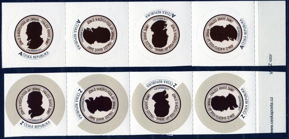"""(2014) č. 829 - 830 ** - Česká republika - Vlastní známky kruhové """"A"""" a """"Z""""  (vzor - samolepící)"""