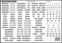 Popisky s názvy států a značením