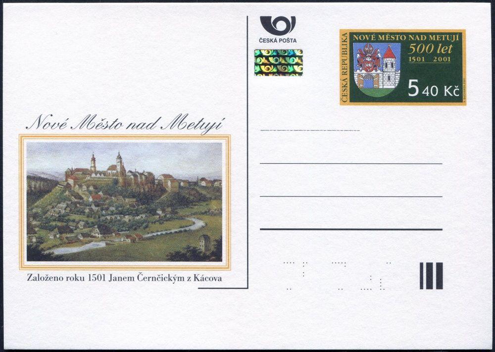 Česká pošta (2001) CDV 68 ** - Nové Město nad Metují - 500. výročí založení