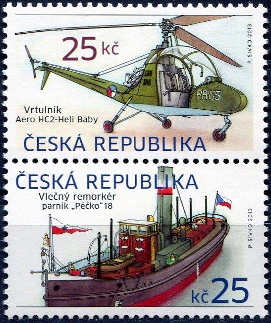 (2013) č. 756 - 757 ** - Česká republika - Historické dopravní prostředky Remorkér a vrtulník - V + R svisle
