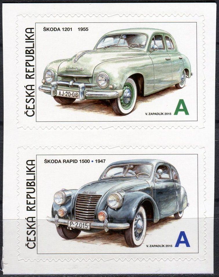 Česká pošta (2015) č. 857 - 858 ** - Česká republika - 2-bl - Václav Zapadlík . Česká auta - Škoda III (samolepící)