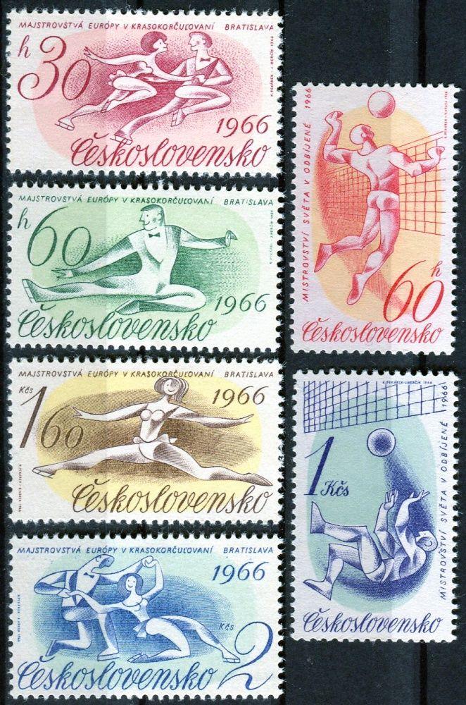 Českosloveská pošta (1966) č. 1498 - 1503 ** - ČSSR - Sportovní události 1966