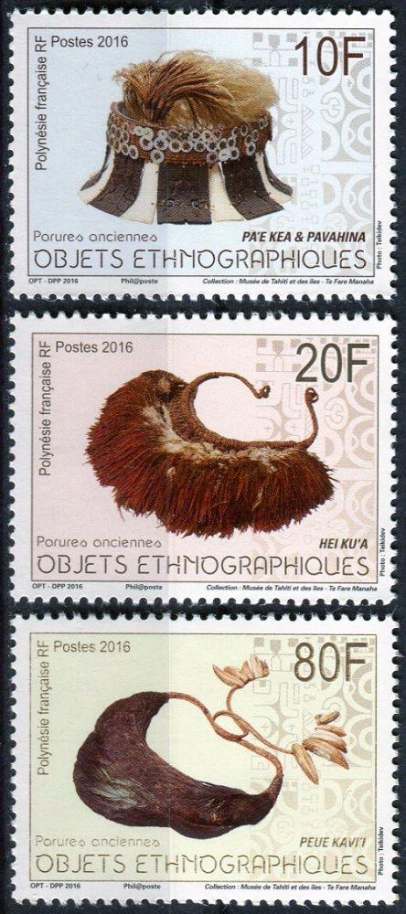 Post France (2016) MiNr. 1310 - 1312 ** - Fr. Polynesie - tradiční pokrývky hlavy