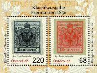 """(2016) MiNr. 3260 - 3261 ** - Rakousko - BLOCK 89 - Klasické vydání """"poštovní známky v roce 1850"""""""