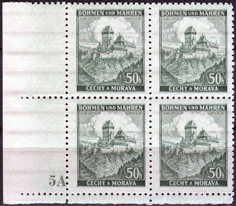 Protektorát Čechy a Morava (1939) č. 29 ** - B.u.M. - 4-bl - Krajiny, hrady a města - Karlštejn