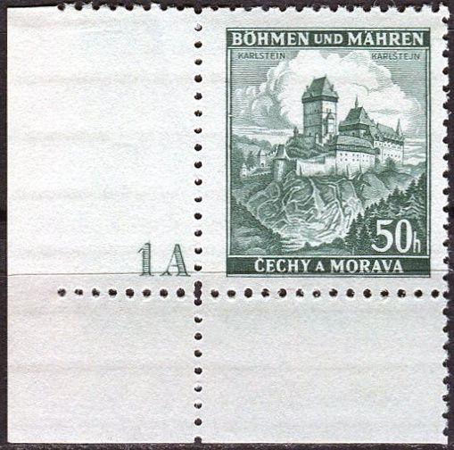Protektorát Čechy a Morava (1939) č. 29 ** - B.u.M. - Krajiny, hrady a města - Karlštejn - d.č.1A