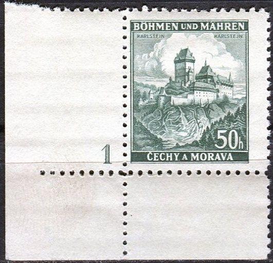 Protektorát Čechy a Morava (1939) č. 29 ** - B.u.M. - Krajiny, hrady a města - Karlštejn - d.č.1