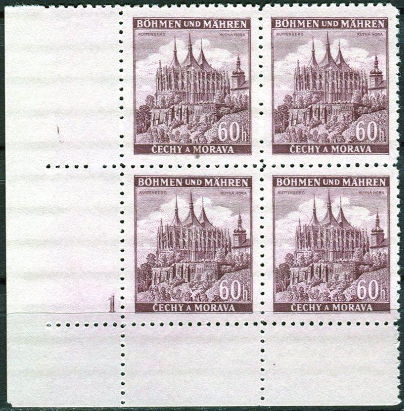 Protektorát Čechy a Morava (1939) č. 30 ** - B.u.M. - 4-bl - Města - Kutná Hora - d.č. 1