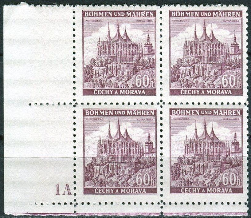 Protektorát Čechy a Morava (1939) č. 30 ** - B.u.M. - 4-bl - Města - Kutná Hora - d.č. 1A
