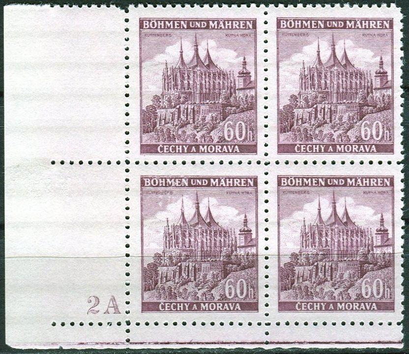 Protektorát Čechy a Morava (1939) č. 30 ** - B.u.M. - 4-bl - Města - Kutná Hora - d.č. 2A