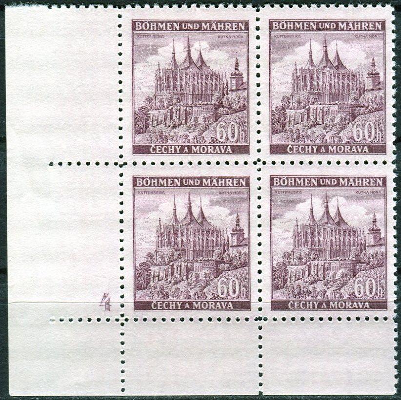 Protektorát Čechy a Morava (1939) č. 30 ** - B.u.M. - 4-bl - Města - Kutná Hora - d.č. 4