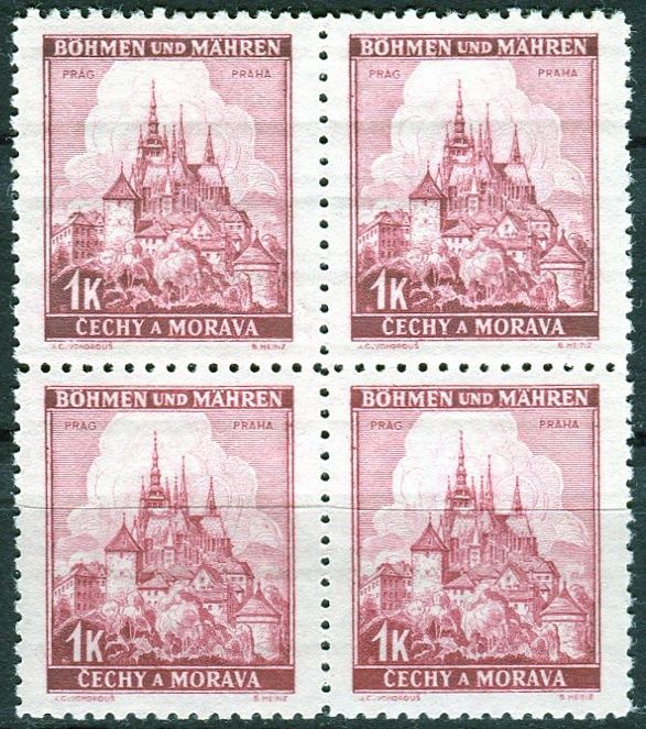 Protektorát Čechy a Morava (1939) č. 31 ** - B.u.M. - 4-bl - Krajiny, hrady a města - Praha