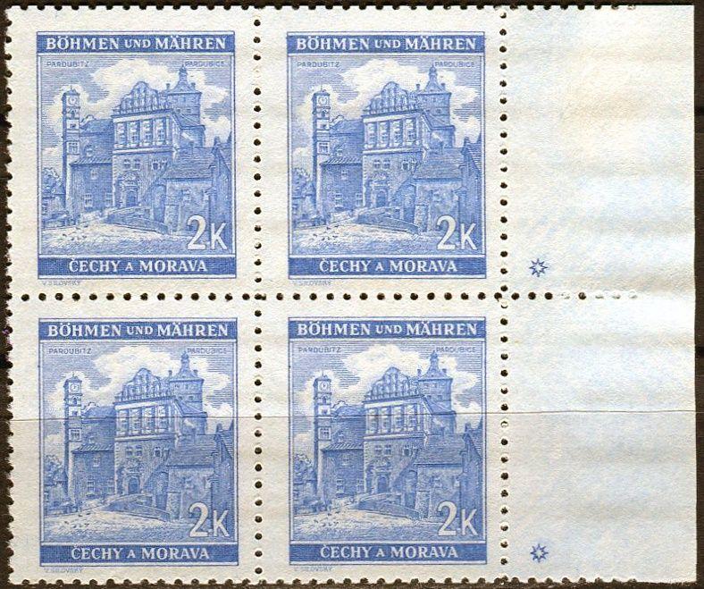 Protektorát Čechy a Morava (1941) č. 59 ** - B.u.M. - 4-bl - Krajiny, hrady, města - Pardubice - d.z. *