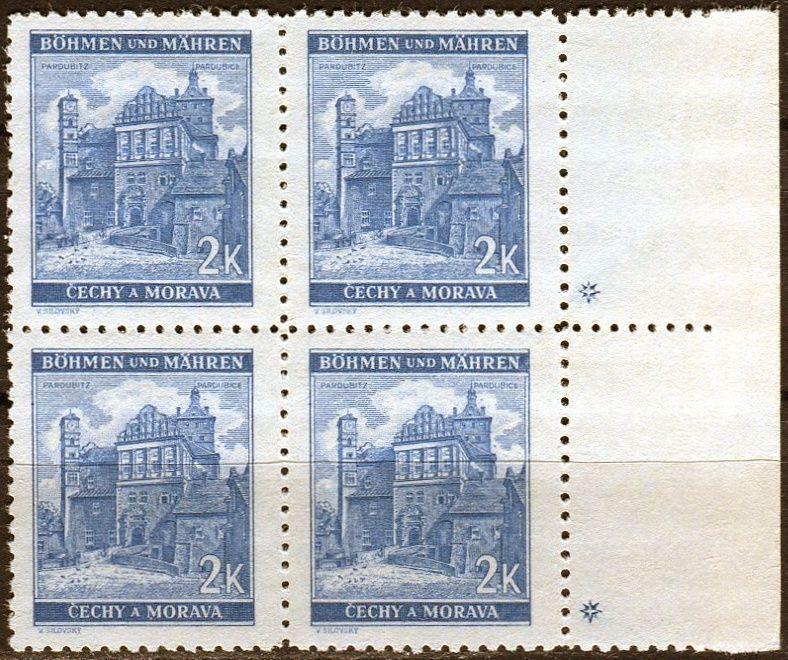 Protektorát Čechy a Morava (1941) č. 59 ** - B.u.M. - 4-bl - Krajiny, hrady, města - Pardubice - d.z. +